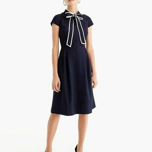 J. Crew Nautical Navy Blue Tie Neck Dress